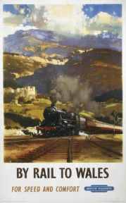 Welsh Railway Travel Art Poster Print, By Rail to Wales by British Railways